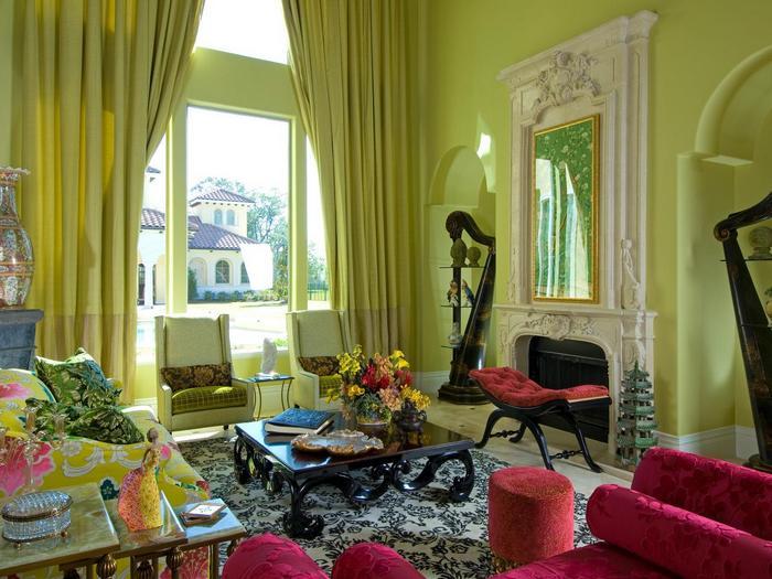 фото сочетания зеленых штор с зелеными обоями