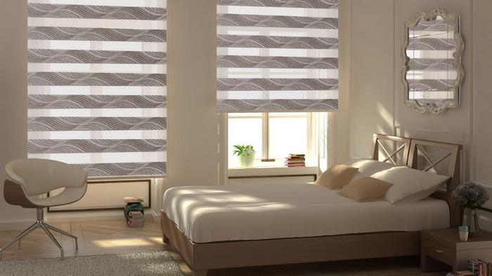 фото штор зебра в спальне