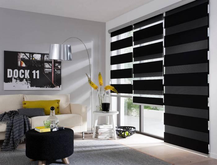 фото штор зебра в гостиной комнате