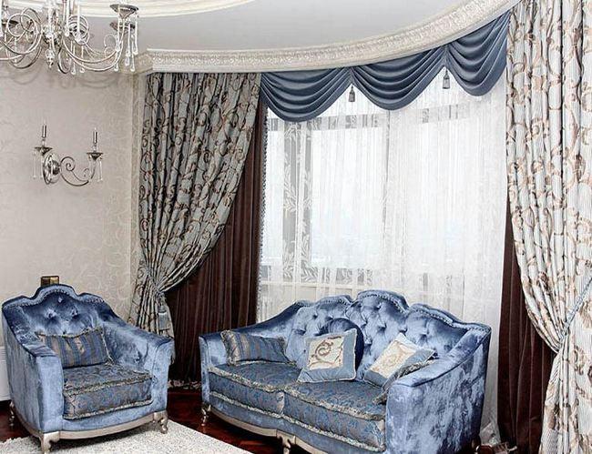 фото штор с драпировкой в стиле барокко