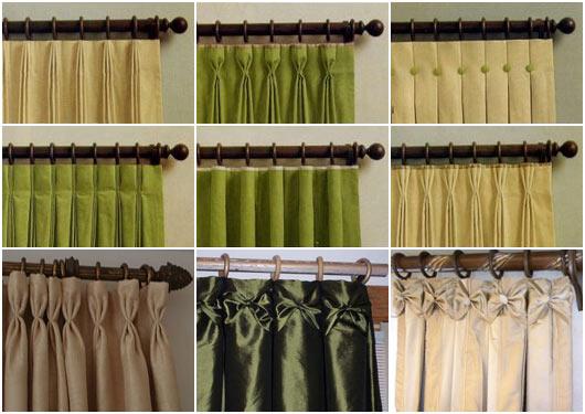 варианты повесить шторы на шторной ленте