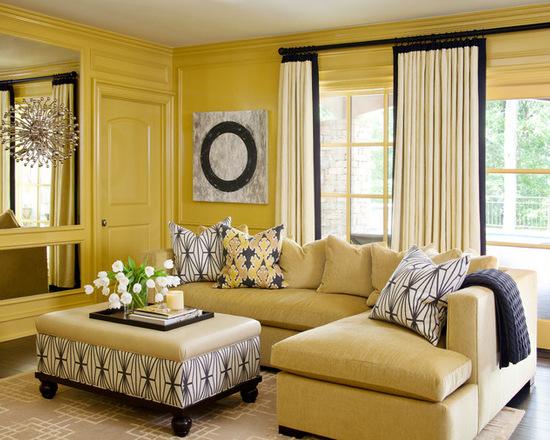 шторы песочного цвета под желтый цвет стен