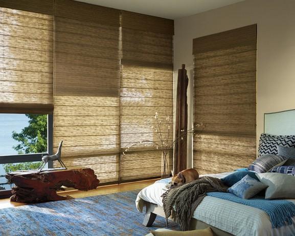 бамбуковые жалюзи в современной спальне