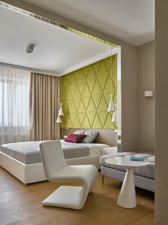 бежевые шторы в современной спальне