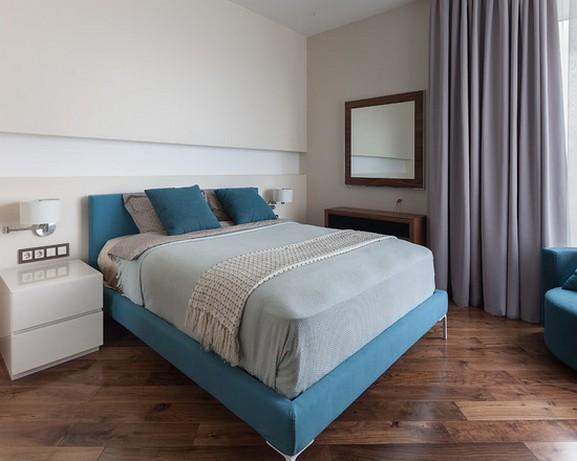 серо-голубые современные шторы