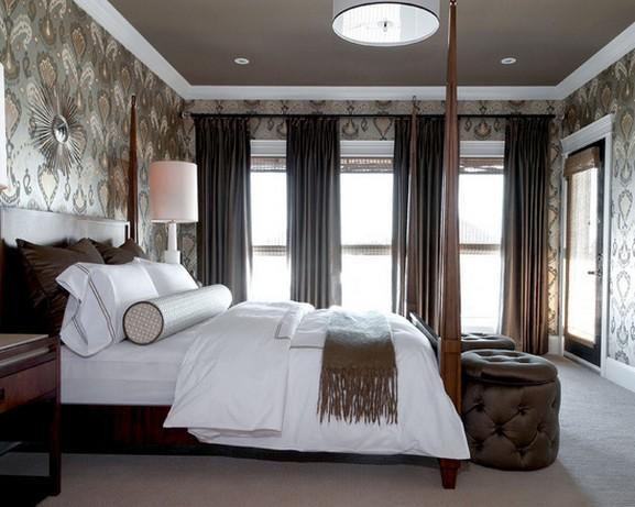 коричневые шторы в спальне в современном стиле дизайна