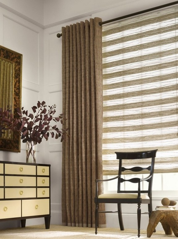 шторы в современном стиле на люверсах для спальни