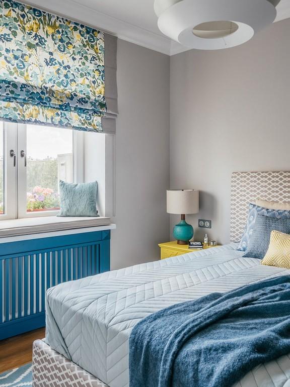 римские шторы с принтом для спальни в современном стиле
