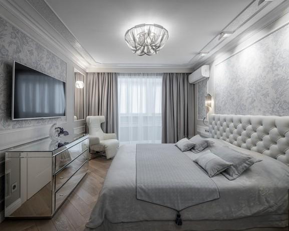 однотонные портьеры в спальне