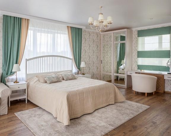двухцветные портьеры для спальни
