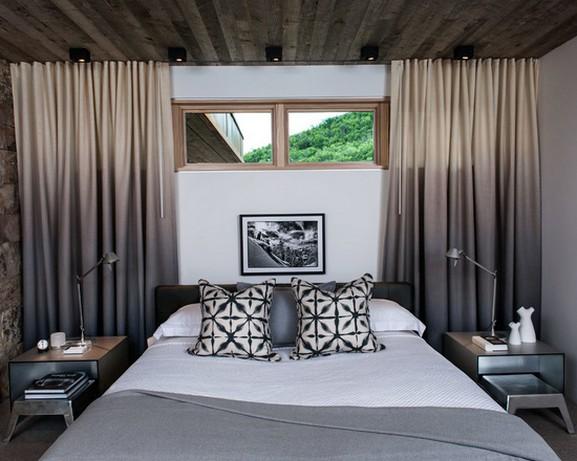 шторы с переходом цвета для маленькой спальни в современном стиле