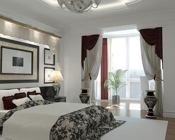 шторы в классическом стиле для спальни