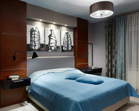 тюль и шторы двух цветов для современной спальни