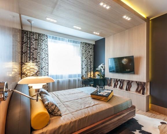 современные шторы с принтом в спальной комнате