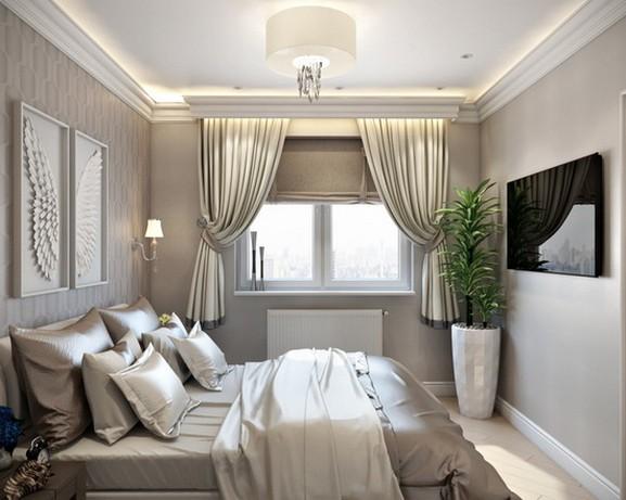 укороченные шторы в современной спальне