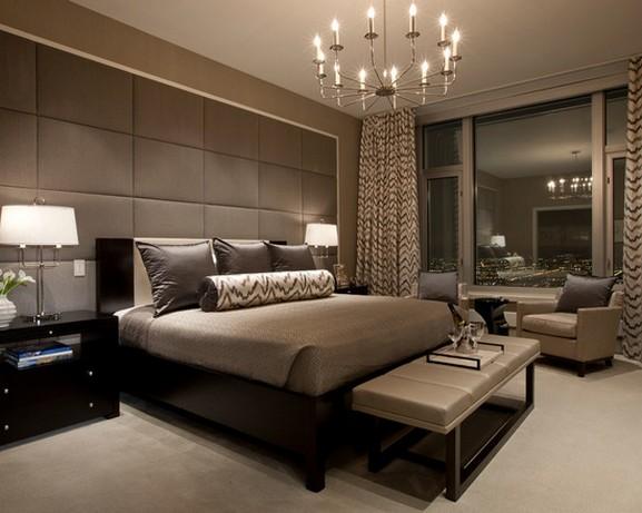 бежево-коричневые шторы с современной спальне