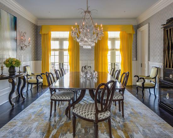 фото ярко-желтых штор в гостиной