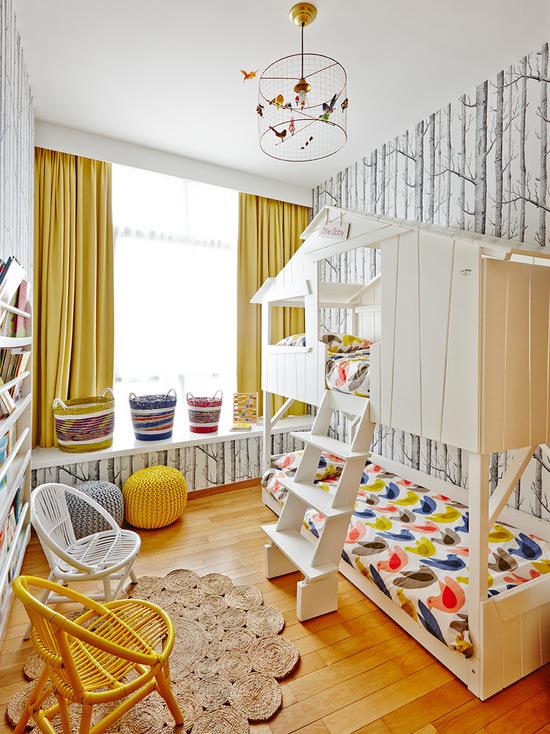 фото штор желтого цвета в детской комнате