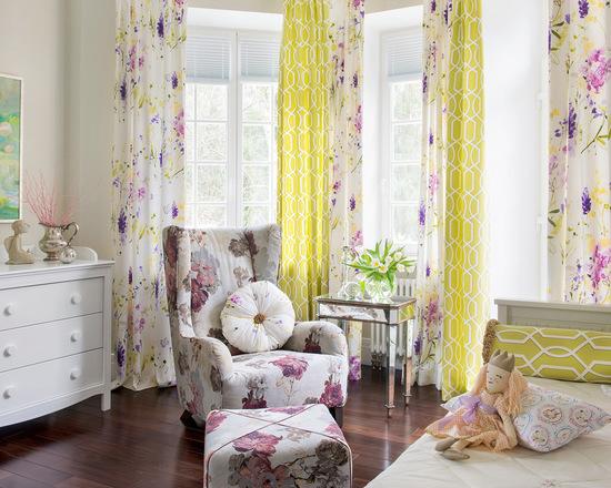 цветочно-желтые шторы
