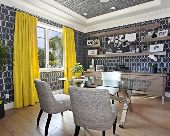 шторы желтого цвета в интерьер рабочего кабинета