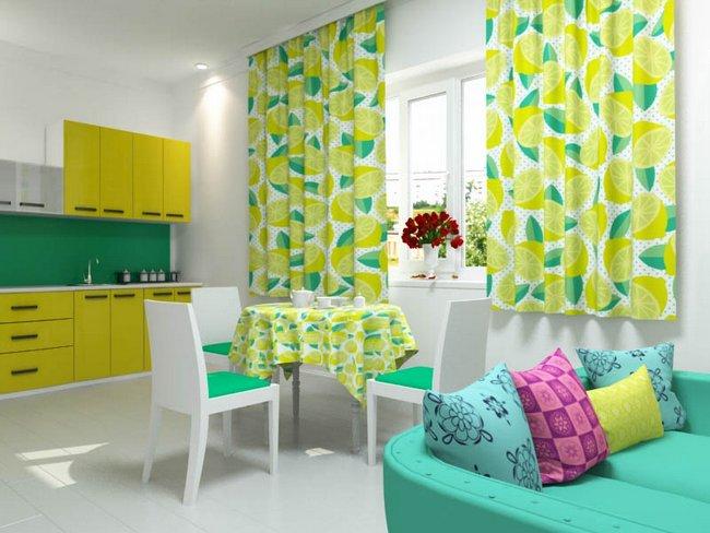 ярко-желтые занавески на кухне