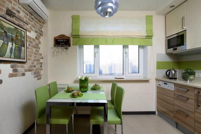 фото римской шторы в кухне