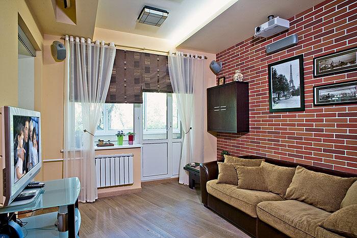 """Дизайн большой комнаты с балконом """" картинки и фотографии ди."""