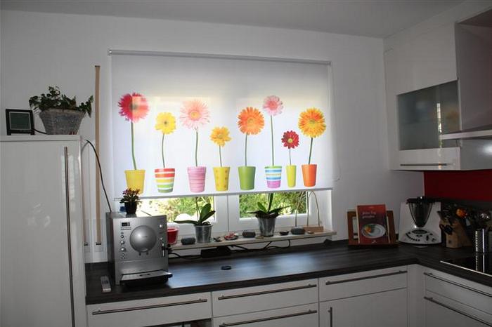 рулонная штора с фотопечатью на кухне