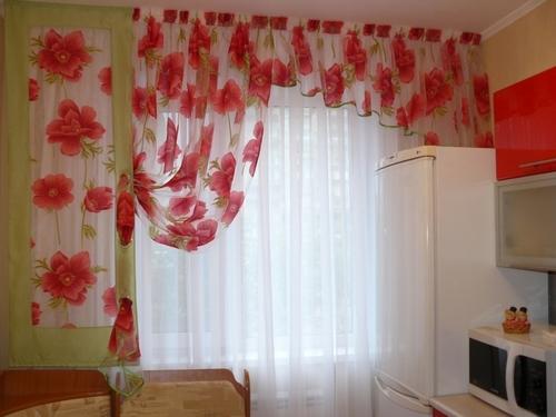 тюль и шторы на кухне