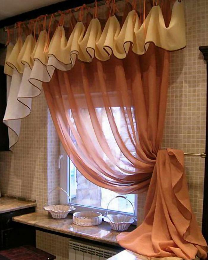шторы для кухни из вуали