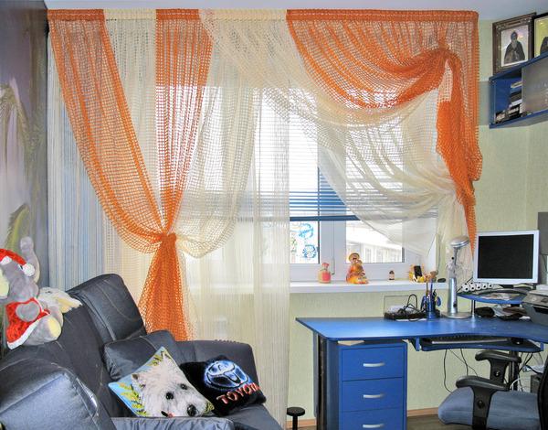 сетчатый тюль в детской комнате