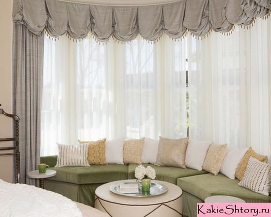 австрийские шторы и тюль в спальне