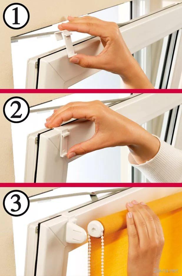 монтаж рулонной шторы без сверления на крючках-кронштейнах