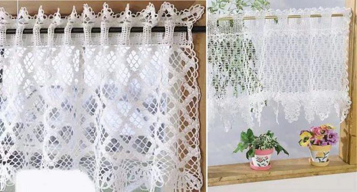 вязаные шторы для кухни