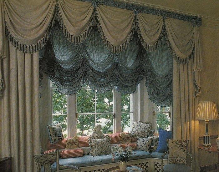 австрийские шторы для эркерного окна