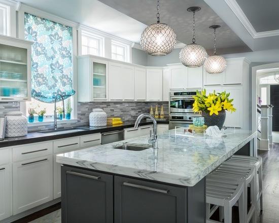 бирюзовая занавеска в кухне