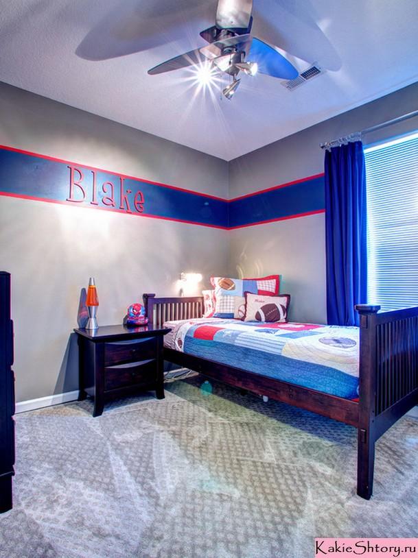 чрко-синие шторы в детской комнате