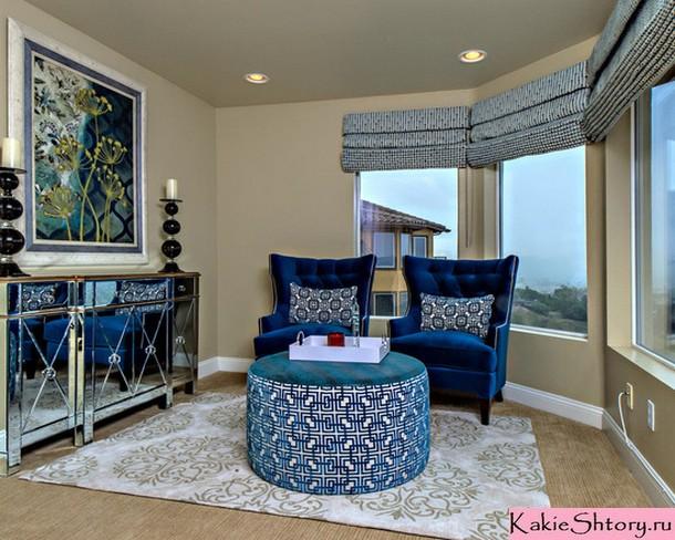 шторы синего цвета для гостиной