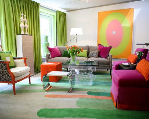 фото зеленых портьер в дизайне гостиной