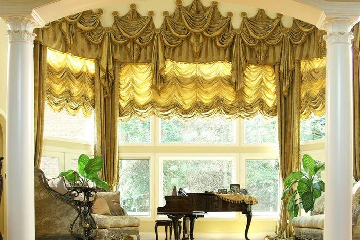 французские шторы для эркерных окон