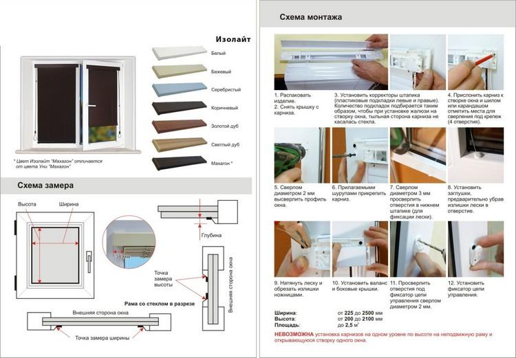 конструкция и схема крепления жалюзи Изолайт на пластиковые окна