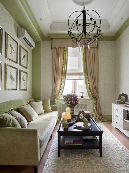 цвет портьер с цветом дизайна комнаты
