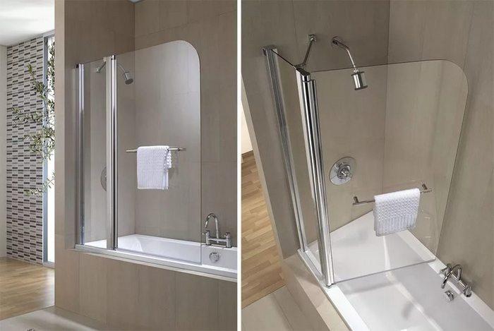 дверь-ширма для ванной из стекла