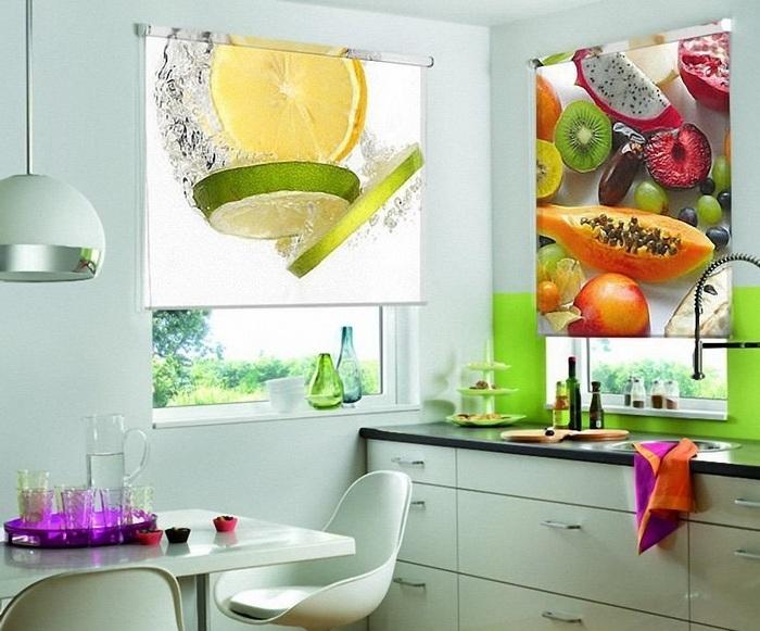 рулонные 3д фотошторы в кухне