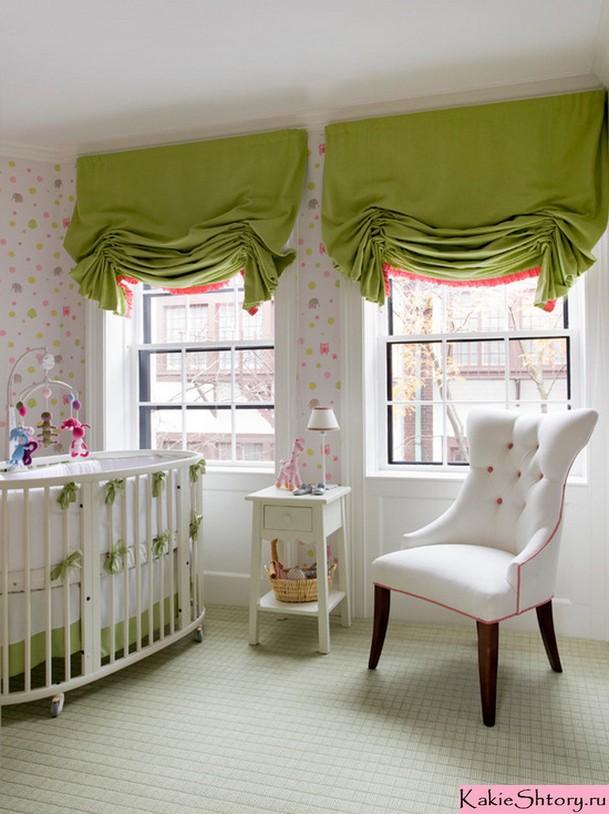 салатовые шторы в комнате малыша