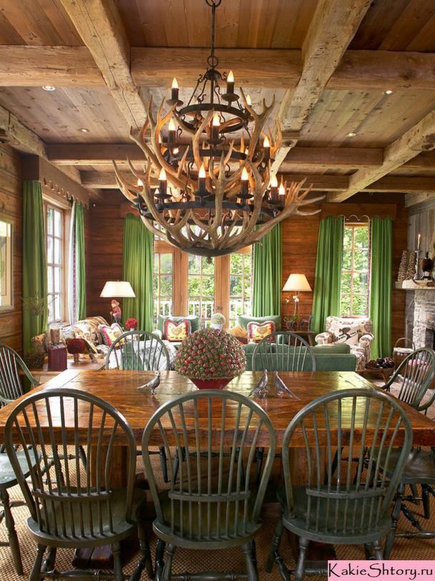 шторы салатового цвета в гостиной кантри