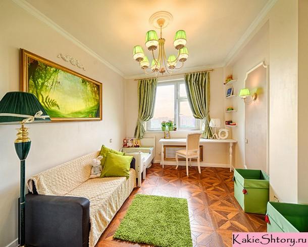 салатовые портьеры в спальне