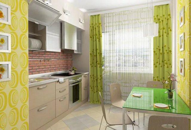 салатовые занавески для кухни