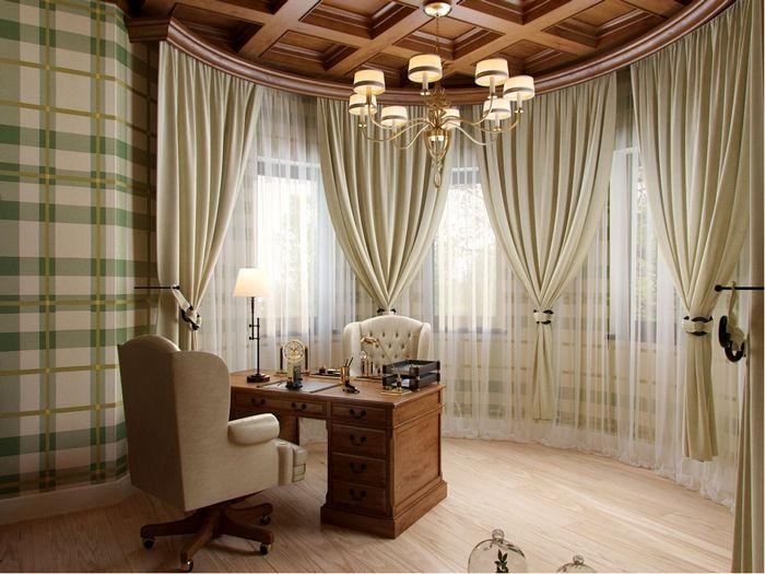 шторы для эркерного окна в рабочем кабинете