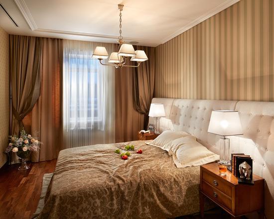 кричневые портьеры для спальни